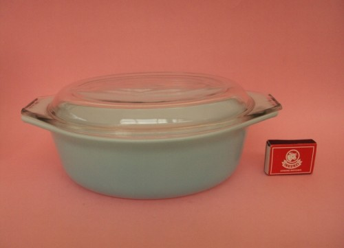 JAJ pyrex dish with matchbox