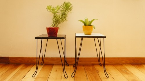 Pair of metal side tables
