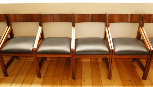 Set of 6 retro wood & vinyl dining room chairs