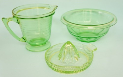Collection of green uranium glass