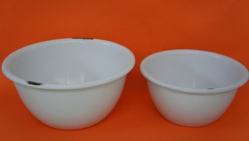 Pair of Kockums enamel bowls